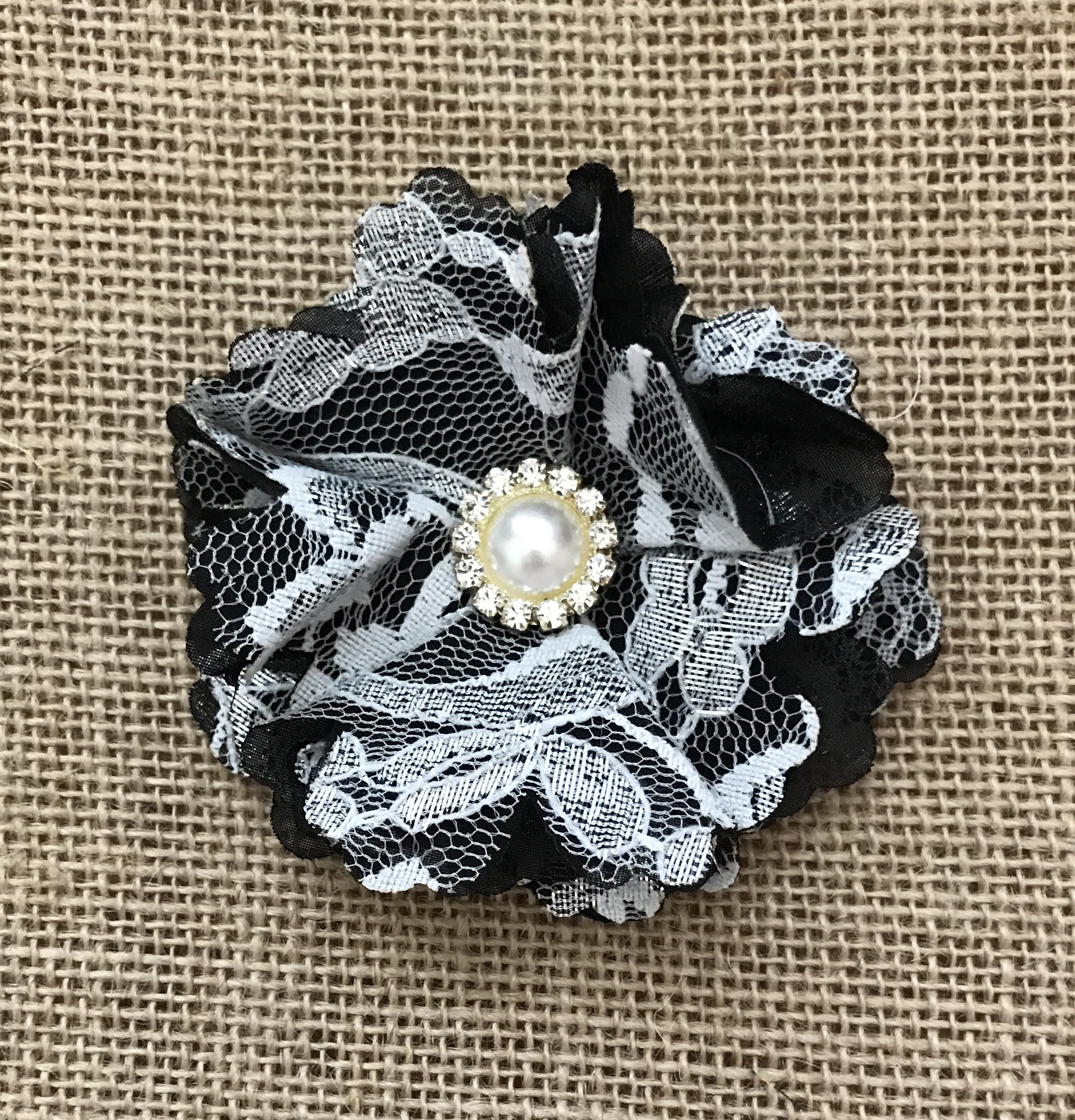 Black And White Lace Shabby Chic Hair Clip